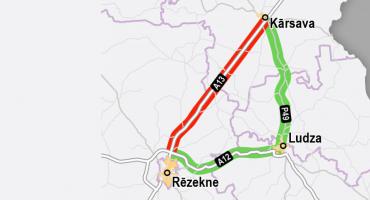Svarīga informācija autobraucējiem: slēgta šoseja starp Kārsavu un Rēzekni (A13)