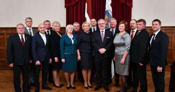 Valsts prezidents Egils Levits tiekas ar Latvijas Pašvaldību savienības domes pārstāvjiem