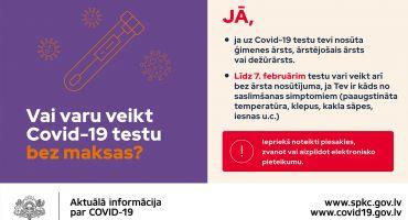 Iedzīvotāji ar simptomiem Covid-19 analīzes bez ārsta nosūtījuma varēs nodot līdz 7. februārim